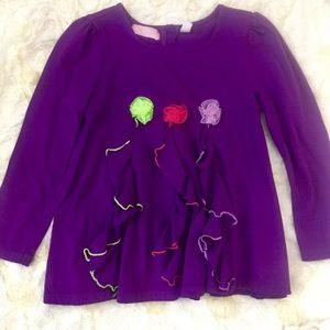 Girls Sz 6 Kids Headquarter Purple Ruffle Top